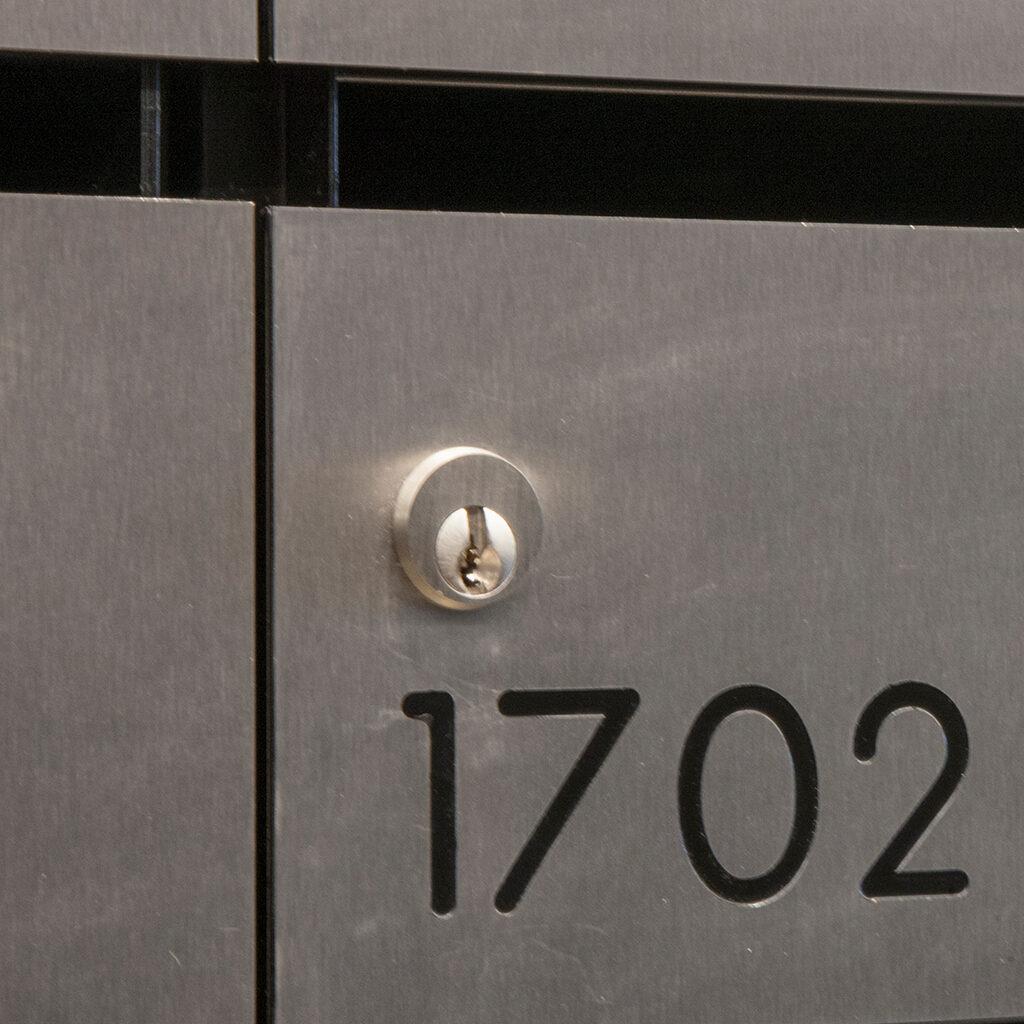 brushed-nickel-locks, lockable post box