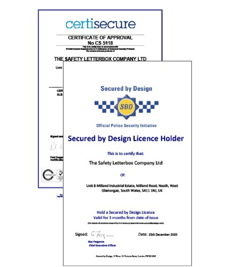 certification for Secured by design mail box