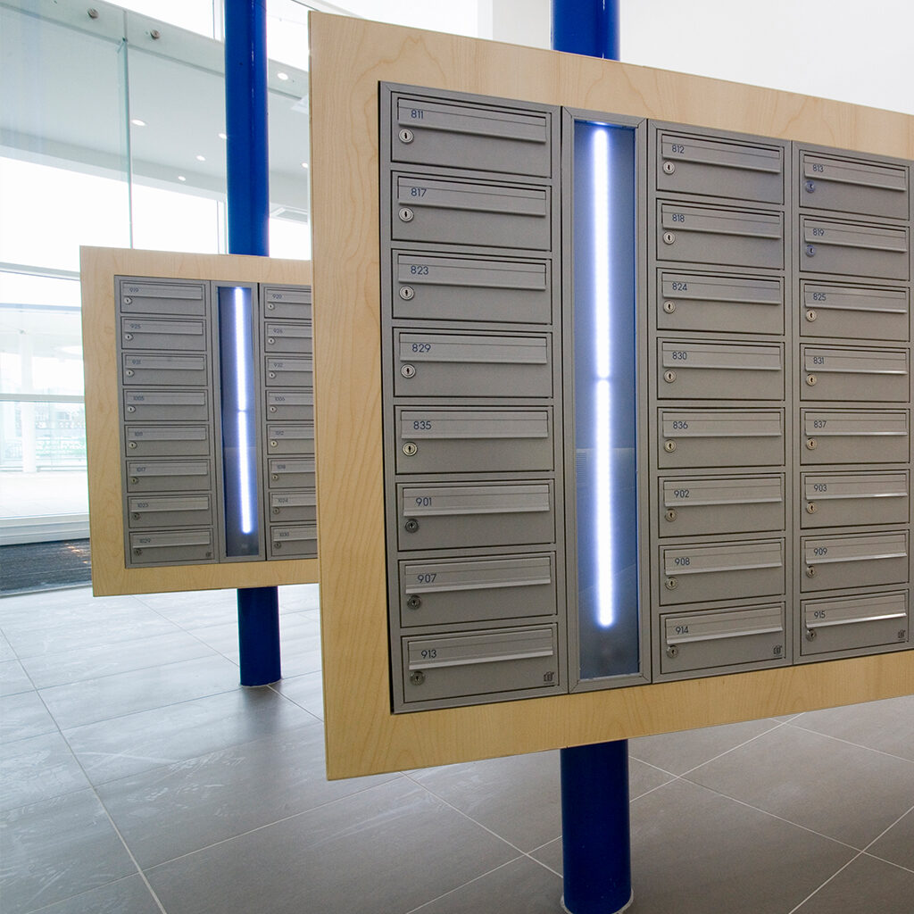 mailbox lighting, bespoke bank of mailboxes
